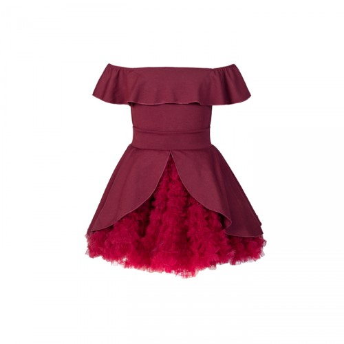 Baby Fashionistas Off ShoulderGirl Party Dress  Red/ Maroon