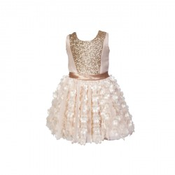 Baby Fashionistas Floral Cut-Outs Skirt WITH Sequins Girl Party Dress Gold image here