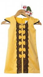 Baby Fashionistas Lace with Bows Shift Girl Party Dress Yellow Gold image here