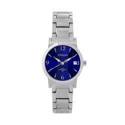 M.O.A Ladies' Versa Vintage - Bamboo Series Pair Analog Stainless Steel Silver / Navy Blue KM1143-2103 Watch image here