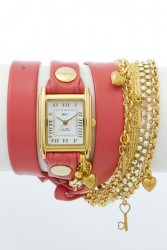 Tokyo Crystal Coral Gold Wrap Watch image here